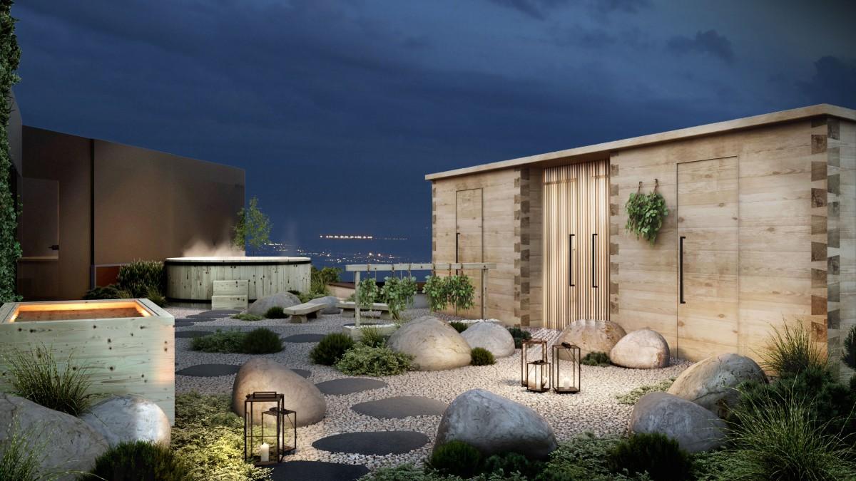 Visualisointi VALO Helsingin kattoterassilta. Terassi on yhteydessä sauna- ja wellness -osastoon ja siellä on muun muassa suomalainen hirsisauna ja poreallas. Palvelu on myös VALO Work jäsenien käytössä