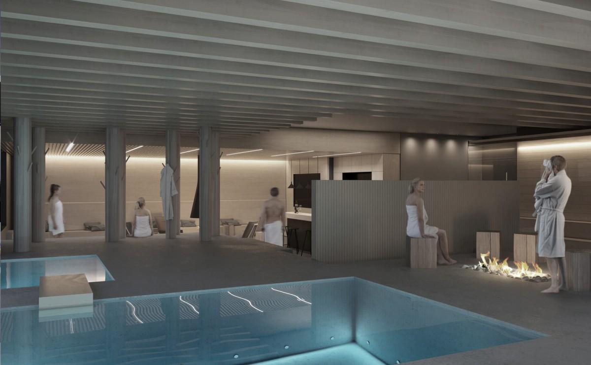 Visualisointi VALO Helsingin allasosastolta. Sauna ja wellness osastolla on 7. kerroksessa kuntosalin lisäksi esimerkiksi 5 saunaa, allas ja ulkoporeallas
