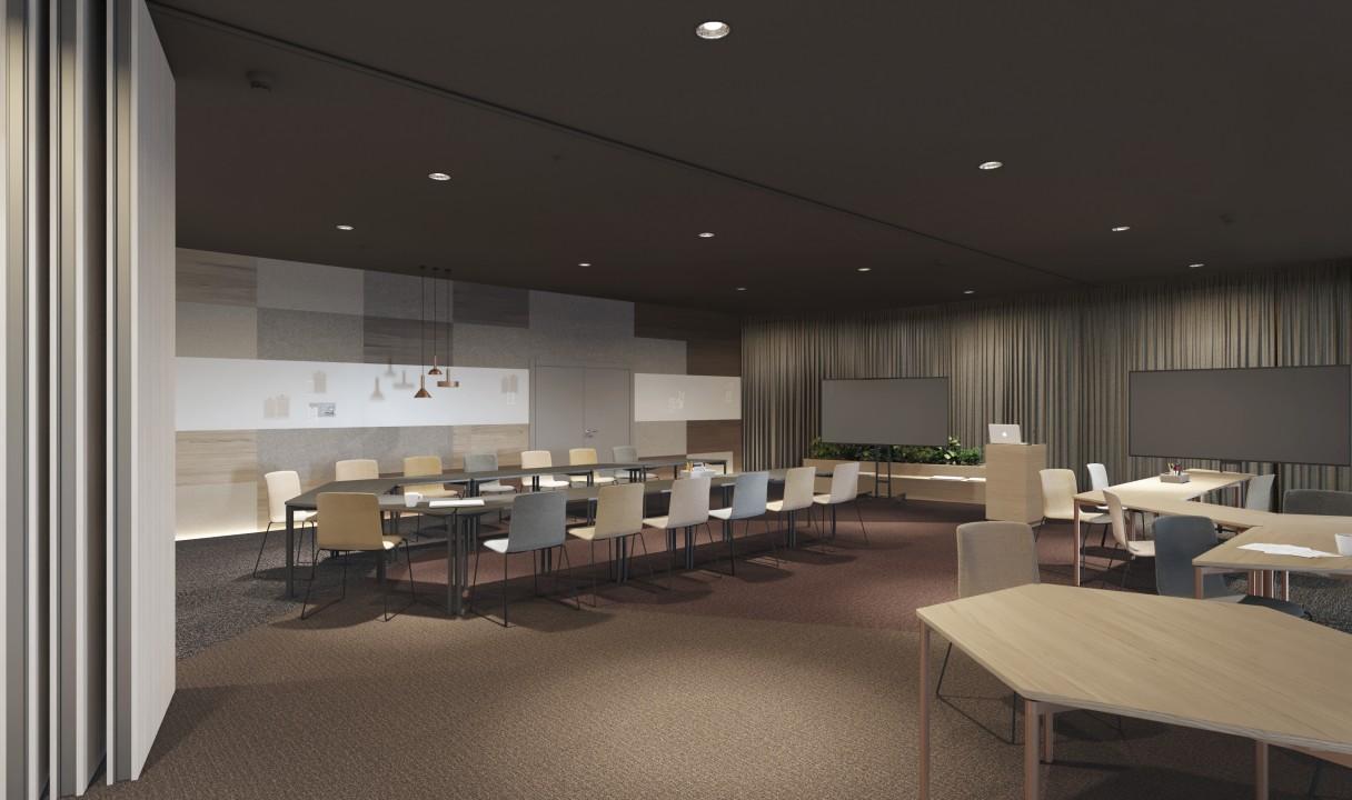Visualisointi VALO Helsingin kokoustiloista. Kokoustiloja on noin 10 erilaista ja niitä voidaan yhdistellä ja kalustaa lukemattomilla eri tavoilla käyttötarkoituksen mukaan.